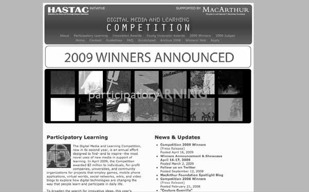Introduction and Overview 19 Figure 1.4 Screenshot of the first Digital Media and Learning Competition ( http:// www.dmlcompetition.net, accessed August 13, 2008).