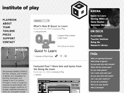42 Chapter 2 Box 3 (Continued) Figure 2.8 Screenshot of Gamelab Institute of Play.