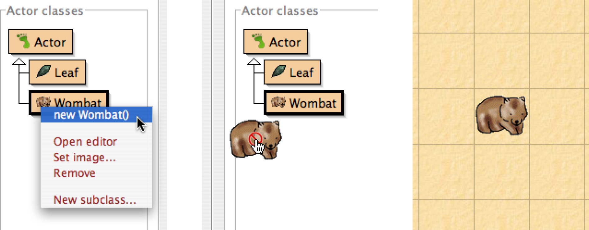 The Greenfoot Programming Environment 14: 3 Fig. 3. a) Create object, b) Move to world, c) Place. than normally available.