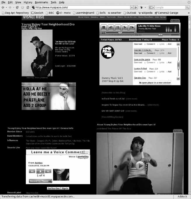 282 Patricia G. Lange and Mizuko Ito Figure 6.5 An example of a MySpace Music profile. Reprinted with permission from Young MIC. Screen capture by Dilan Mahendran, 2006.