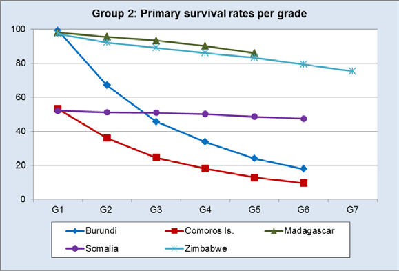 Finally, countries with low survival rates or fast-declining rates are Burundi, Somalia, Comoros and Angola.