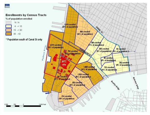 NEW YORK CITY DEPARTMENT OF HEALTH AND MENTAL HYGIENE PAGE 7 Figure 5 is a map of enrollees living near the WTC on September 11, 2001, with a reported address below Canal Street.
