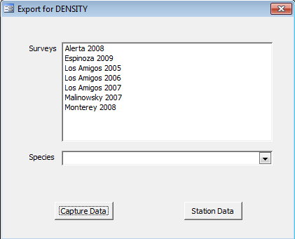 Export for DENSITY This option lets you export capture-recapture data to DENSITY. Data from multiple surveys can be combined and each survey will show as a session in Density.