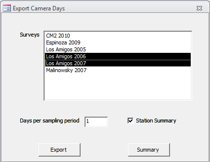 Export Camera Days Based on the camera day information entered (see 5.6) this report shows a summary of the start and end date as well as the exact number of cameras days for a survey.