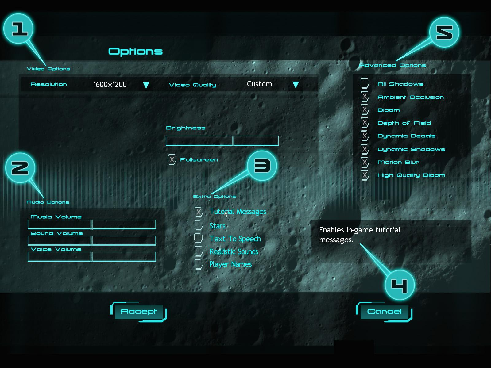 GAME OPTIONS Numerous game settings in Moonbase Alpha can be modified to allow a gaming experience that fits your specific needs.