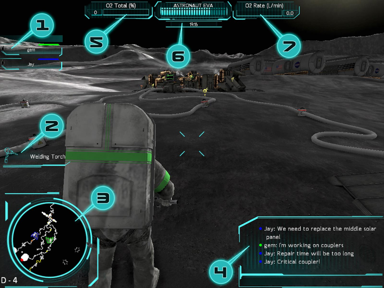 GAME SCREEN Your space suit is equipped with the latest in NASA Heads up Display technology.