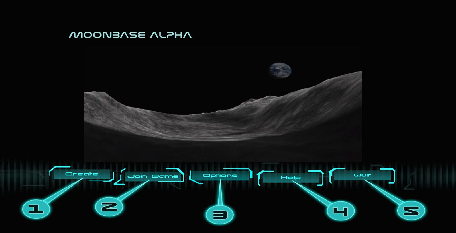 MAIN MENU After launching Moonbase Alpha you are brought to the main menu screen.