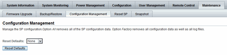 3. In the Reset Defaults drop-down list, click Reset Defaults, and then select one of the following options: All - If you want to reset all of the Oracle ILOM configuration data to the default