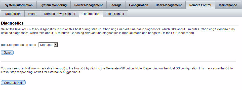 FIGURE: Diagnostic Page for x86 Systems FIGURE: Diagnostics Page for SPARC Servers Related Information