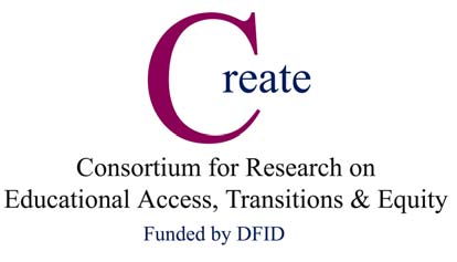 The Consortium for Educational Access, Transitions and Equity (CREATE) is a Research Programme Consortium supported by the UK Department for International Development (DFID).
