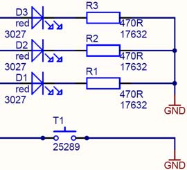 Figure 5-4. User I/Os. PB2 PB1 PB0 PB3 The LEDs are connected to PB0..2 for active-high operation. The key will pull PB3 to GND.