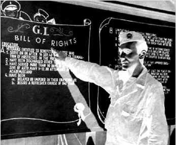 1944 12 Servicemen s Readjustment Act, better known as the G.I. Bill, establishes payment for college or vocational education and one year of unemployment compensation for World War II veterans.