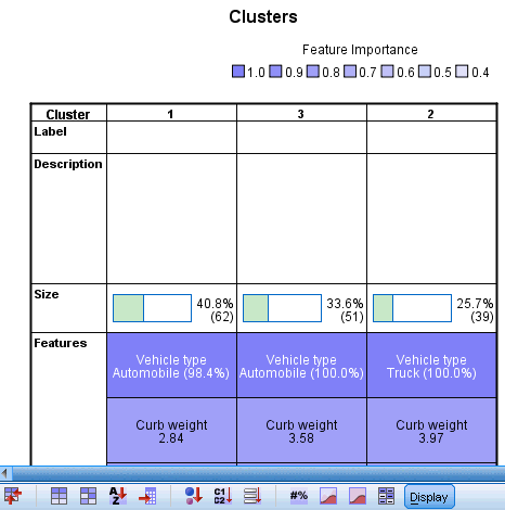 169 TwoStep Cluster Analysis Clusters View Figure 24-6 Cluster Centers view in the main panel The Clusters view contains a cluster-by-features grid that includes cluster names, sizes, and profiles