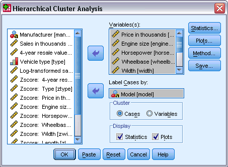 180 Chapter 25 Figure 25-1 Hierarchical Cluster Analysis dialog box If you are clustering cases, select at least one numeric variable.