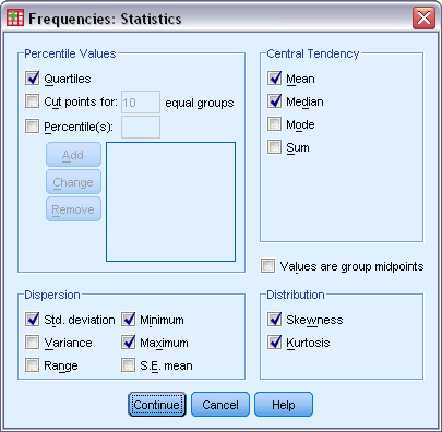 Click Format for the order in which results are displayed. Frequencies Statistics Figure 2-2 Frequencies Statistics dialog box Percentile Values.