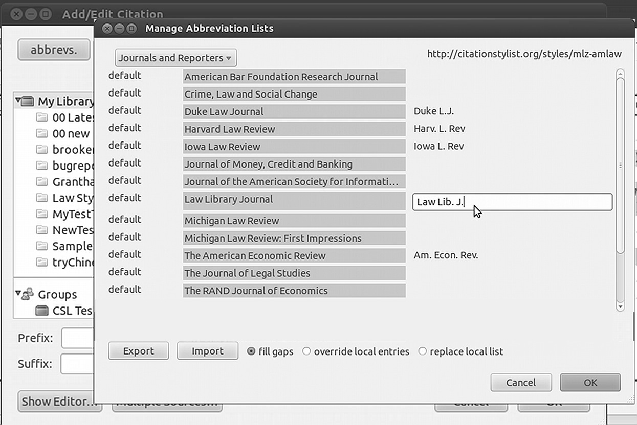 Abbreviation Filter 35 Figure 3.1: Abbreviations editor with a field open for editing Zotero servers, but the lists for a style can be exported for sharing among users, machines or styles.