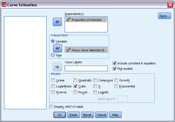 117 Curve stimation Figure 18-1 Curvestimationdialogbox Select one or more dependent variables. A separate model is produced for each dependent variable.