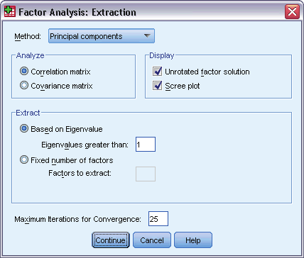 158 Chapter 22 Factor Analysis xtraction Figure 22-4 Factor Analysis xtraction dialog box Method. Allows you to specify the method of factor extraction.