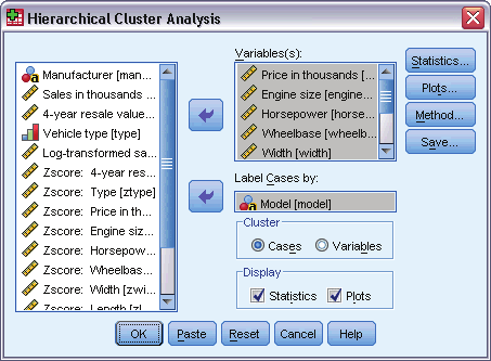 182 Chapter 25 Figure 25-1 Hierarchical Cluster Analysis dialog box If you are clustering cases, select at least one numeric variable.