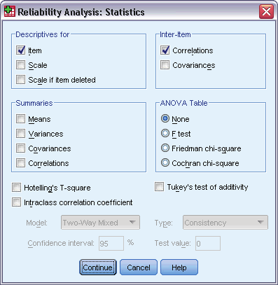 .. Figure 30-1 Reliability Analysis dialog box Select two or more variables as potential