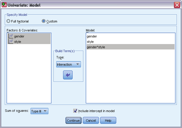 61 GLM Univariate Analysis GLM Model Figure 11-2 Univariate Model dialog box Specify Model.