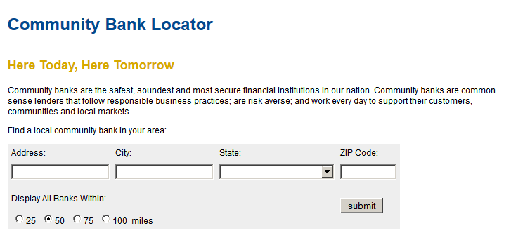 Community Bank Tasks Finding the Information To find a community bank go to the locator at http://www.icba.