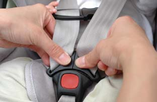 Place your child into the Infant Car Seat, making sure both back and rump are