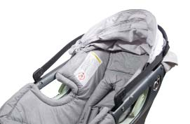 The Infant Car Seat can tip when carried by the Soft Carrier Handle - ALWAYS secure the Soft Carrier Handle Grip to the Soft Carrier Handle before
