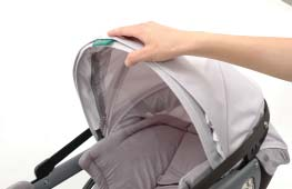 66 Carrying and Install Using the the Base Infant Car Seat 10 For safety, lower the Sunshade when the Infant Car Seat is docked in your
