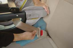 Traveling with Your Infant Car Seat D E If using a lap-only vehicle seat belt, skip to Step # 10.