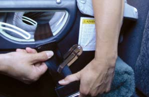 To tighten further, unbuckle the vehicle seat belt, remove from the Belt Clips, shorten the length of vehicle lap belt slightly and