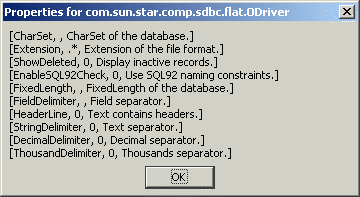 "Database connections MsgBox s, 0, ""Properties for "" & odriver.getimplementationname() End Sub Figure 21. Arguments for a flat file driver."