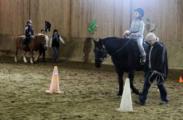 Then, in twos and threes, the group walked up and down the barn and peered into the stalls as the students introduced family members to their favourite horse or pony.