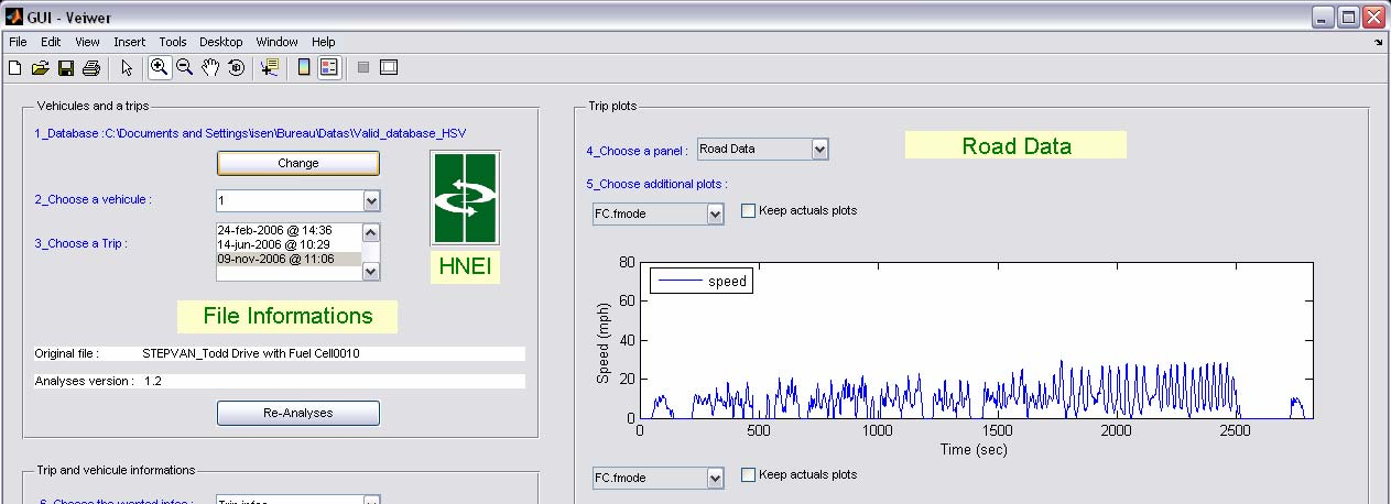 Figure 12. Screenshot of MATLAB tool showing an example trip analysis The fuel cell vehicles at Hickam are equipped with data acquisition devices necessary for this driving cycle analysis.