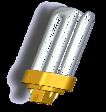 OSRAM DULUX T/E PLUS 13 W 900 lm 18 W 1200 lm 26 W 1800 lm 32 W 2400 lm 42 W 3200 lm Light colours LUMILUX 827, 830, 840, GX24q, 4 pin base Average life time: 20,000* h on ECG operation * 13,000 h