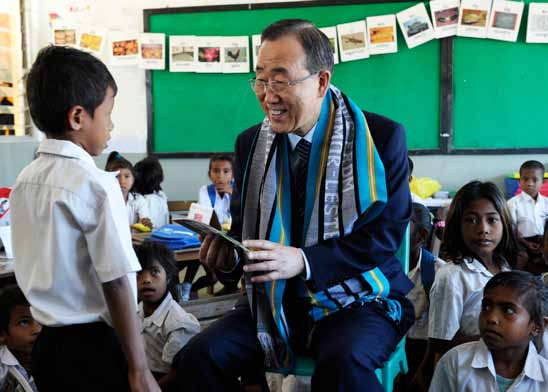 Secretary-General BAN Ki-moon with students at Cassait School, in the Liquica District of Timor-Leste.