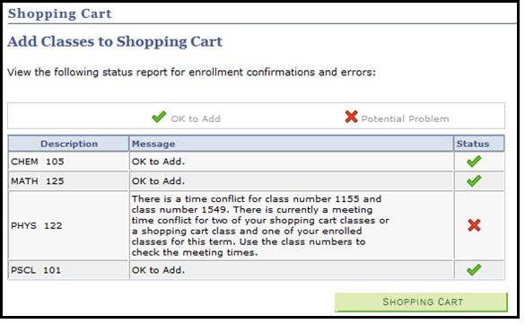 Validation Results STEP 20: The results of the validation process appear. STEP 21: If a red X appears, that means a problem has been found with the suggested schedule in your Shopping Cart.
