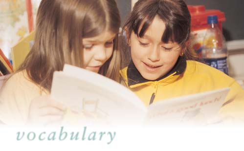 Vocabulary plays an important part in learning to read. As beginning readers, children use the words they have heard to make sense of the words they see in print.