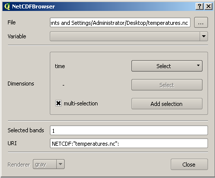 Once installed, the NetCDF Browser plugin should appear in your tool bar. Click on the NetCDF Browser icon to launch it.