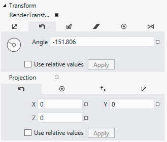 "<TranslateTransform Y=""-60""/> <RotateTransform Angle=""{Binding Seconds, Converter={StaticResource ResourceKey=angleConverter, ConverterParameter=Seconds""/> The second transform rotates the hand to"