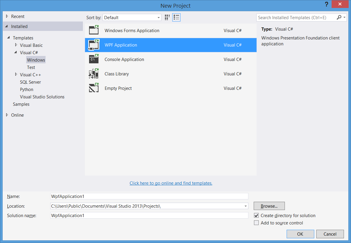 windows presentation foundation Build WPF projects in Visual Studio Creating a new WPF application in Visual Studio works just like creating other kinds of desktop applications.
