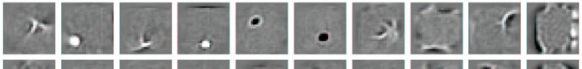 8 Figure 3: The receptive fields of some feature detectors. Each gray square shows the incoming weights to one feature detector from all the pixels.
