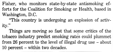13 Credit: Reprinted courtesy of The Boston Globe, 4/10/94 As it becomes more difficult for tobacco companies to sell their