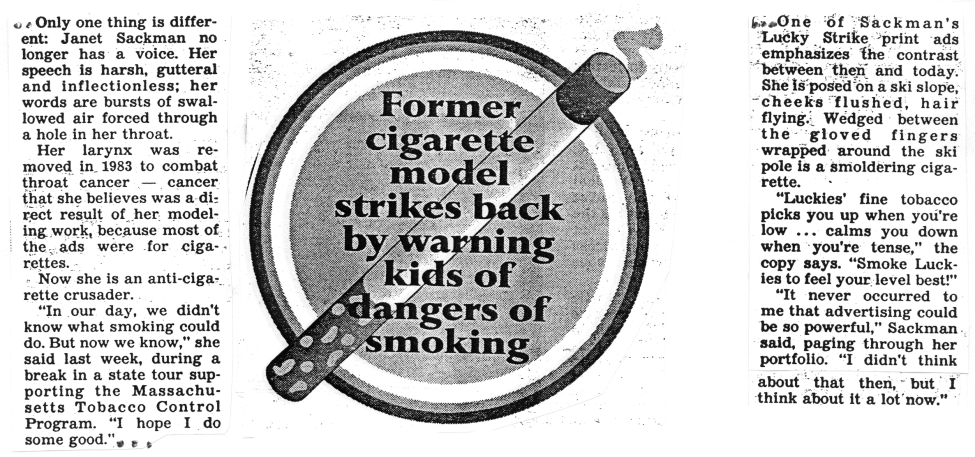 70 Lucky To Be Alive Credit: Reprinted with permission of the Boston Herald, 2/7/94 Cigarette smoking also causes or increases the risk of getting other lung diseases and conditions.