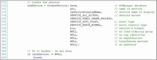 j. Calls Win32 API call CreateService(). The details of this function call parameters are shown in Figure 17. Figure 17. CreateService() API call.