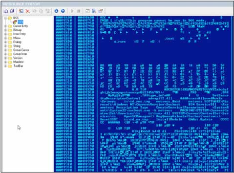 Finally, Figure 38 shows the resource section of GH0ST.EXE. It is contained in the resource named BSS with an ID of 173. This resource contains the INSTALL.EXE binary. Figure 38. GH0ST.EXE resource section.
