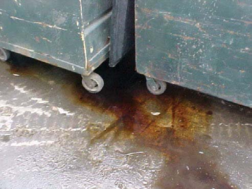 Figure 17. Leaking dumpsters can introduce pollutants into stormwater runoff.