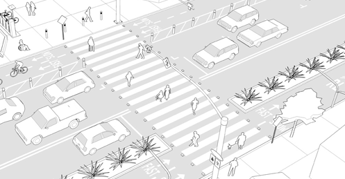 PATH TOOLBOX 5 CROSSINGS AND CONNECTIONS Enhance Existing Crosswalks PATH PLANNING GUIDELINES Mid-Block & Additional Intersection Crossings Goals» Protect pedestrians and active transportation users