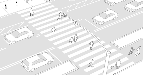 Stripes may be perpendicularly- or diagonally-placed» Incorporate advance stop bar or yield lines for oncoming vehicular traffic to give pedestrians more room to cross» Where feasible, incorporate