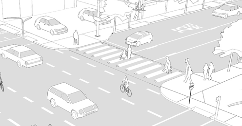 PATH PLANNING GUIDELINES PATH TOOLBOX 5 CROSSINGS AND CONNECTIONS Raised Crossings [Case Study] Raised Crosswalks in Boulder & Cambridge Raised Crossings Aid in Pedestrian Safety Goals» Calm traffic